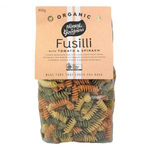 Organic Fusilli Pasta Tomato-Spinach - Bundeena Organics